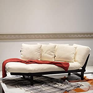 Cambridge Casual Solid Wood Brion Futon Daybed, Black/Ivory