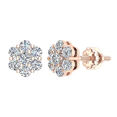 ddddee84540 Amazon.com  0.62 ct tw Cluster Diamond Flower Stud Earrings 14K Rose ...