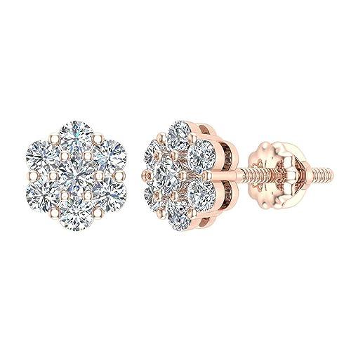 596c3cc6784a0 Floral Cluster Diamond Stud Earrings 14K Gold