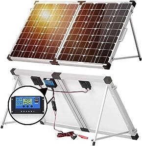 DOKIO 100w(50x2) 12v Monocrystalline Foldable Solar Panel, Portable Folding Solar Panel Suitcase with Charge Controller