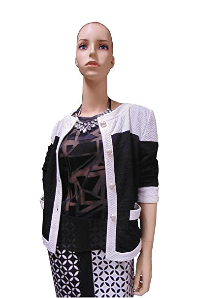 Chaqueta Estilo Chanel en Negro de Aspecto Blanco: Amazon.es ...