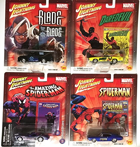 Daredevil, Spider-Man, Blade Marvel Pop Culture Cars Chevy Chevelle, Dodge Charger, Ford Panel Delivery Super Hero Comic Cars Johnny Lightning