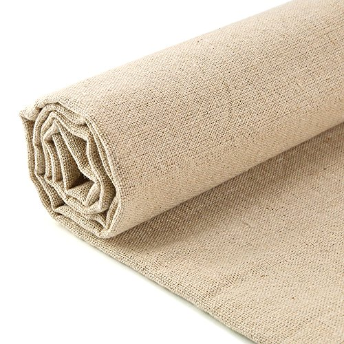 (Caydo Linen Needlework Fabric, Plain Solid Colour Linen Fabric Cloth Hemp Jute Fabric Table Cloth Garments Crafts Accessories, 20 by 62-Inch )