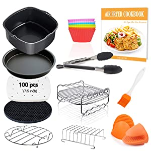 Square Air Fryer Accessories 11 pcs with Recipe Cookbook Compatible for Philips, COSORI, NuWave Brio and other Square AirFryers and Oven, Deluxe Deep Fryer Accessories Set of 12