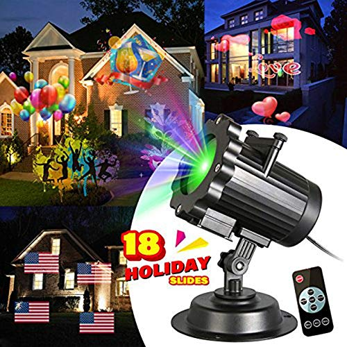 LED Christmas Projector Lights with 18 Slides,Waterproof Light Projection Night Lights Lighting Lamp Landscape Garden Decoration for Christmas, Halloween Holiday Party with Remote Controller ()