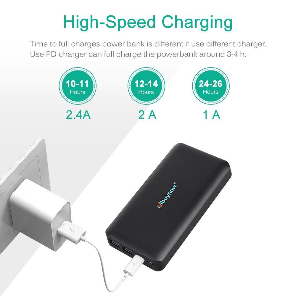 Mbuynow Power Bank 20000 mAh, Doble Puerto, Total 5V/3.5A Batería Externa Cargador Portátil para iPhone iPad Android