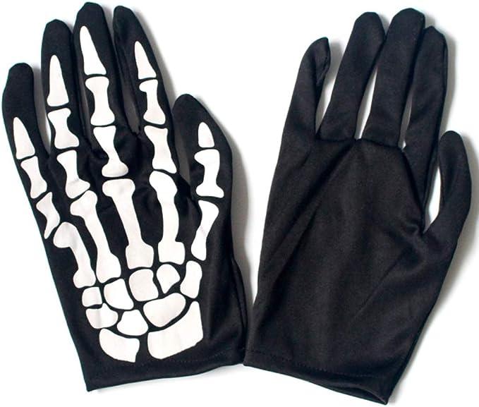 ruiruiNIE 1 Paio di Guanti da Scheletro Corti Skull Bone Ghost Gloves Halloween Cosplay Costume Accessori Accessori per Adulti
