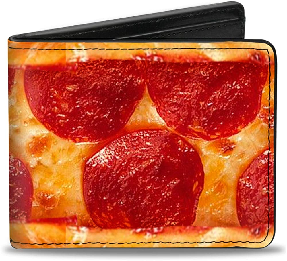 Buckle-Down PU Bifold Wallet - Pepperoni Pizza w/Crust Vivid