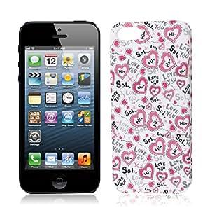 De plástico duro negro Impresión del corazón de nuevo caso de Shell protector para el iPhone 5 5G
