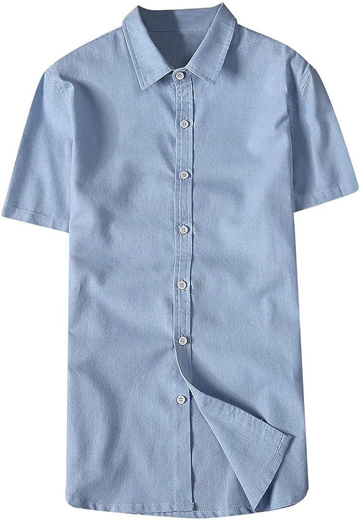 Roiper - Camisa de Manga Corta para Hombre, de algodón y Lino ...