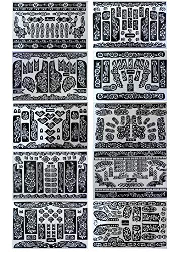 10 Sheets Temporary Tattoo Stencils Various Designs Templates for Henna, Body Art, Airbrush (10 sheets - 11