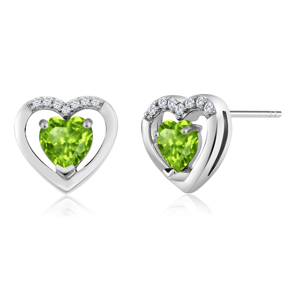 10K White Gold 0.66 Ct Green Peridot White Diamond Heart Shape Earrings