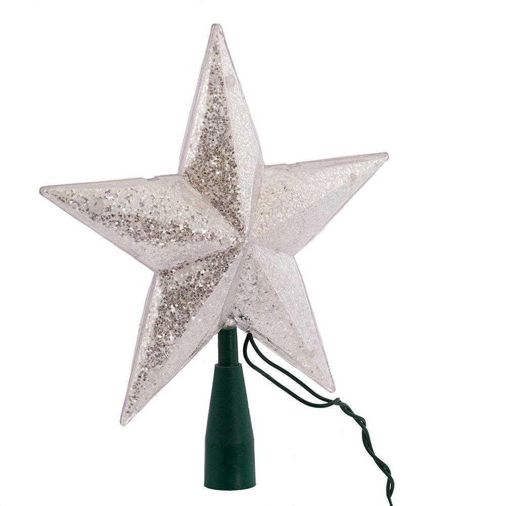Kurt Adler UL 10-Light 5-Point Glitter Star Christmas Treetop, Silver