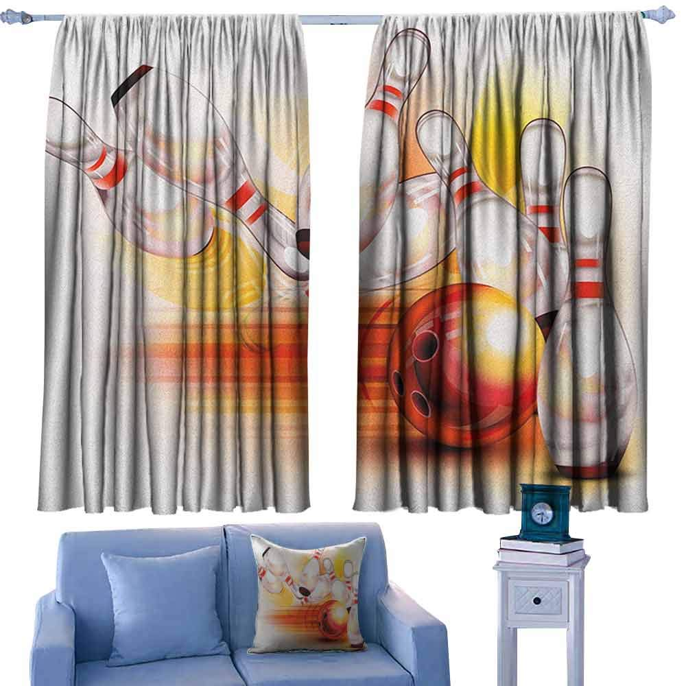 ParadiseDecor Bowling Party Backout Curtain Set Red Ball and The Falling Skittles Hit Speed Movement Throw and Strike,Print Curtains for Toddler Living Room,W42 x L63 Inch by ParadiseDecor