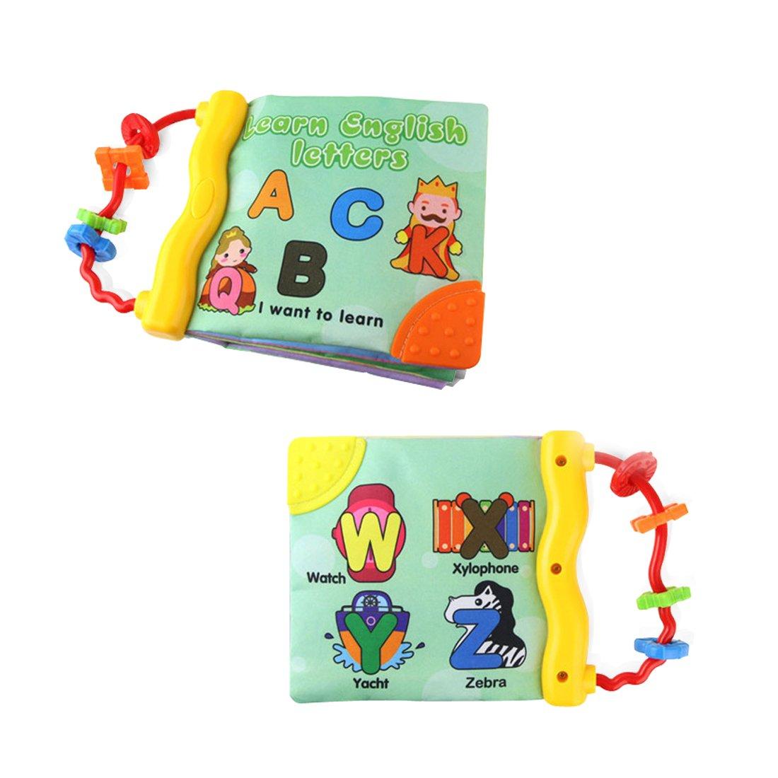 Libro para las primeras palabras del bebé, tela suave, libro de cognición para aprendizaje y actividades, juguete para educación prematura (letras) Jun-see