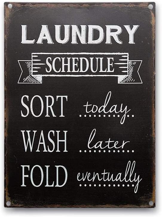Goutoports Laundry Room Vintage Metal Sign Laundry Schedule Black Decorative Signs Wash Room Home Decor Art Signs 7.9x11.8 Inch