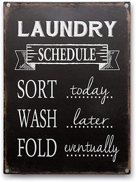 Amazon Com Goutoports Laundry Room Vintage Metal Sign Laundry Schedule Black Decorative Farmhouse Signs Wash Room Decor Bathroom Signs 7 9x11 8 Inch Home Kitchen