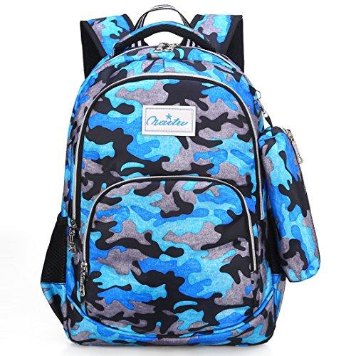 - Kid Backpack with Pen Case for 2nd Grade or Younger Kindergarten School Girl Boy (Blue)