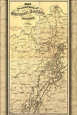 20x30 Poster; Map Of Cincinnati Railroad Kentucky Tennesee 1873