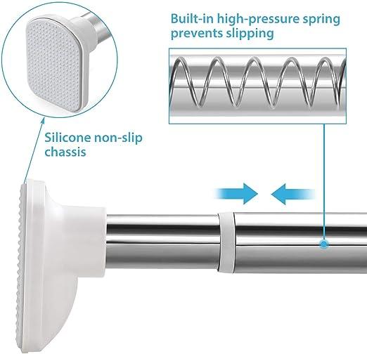 KINLO 310-360cm barra de cortina de ducha con barra telescópica barra de ropa barra de cortina de acero inoxidable sin perforación poste de percha extensible de plata para sujeción: Amazon.es: Bricolaje y