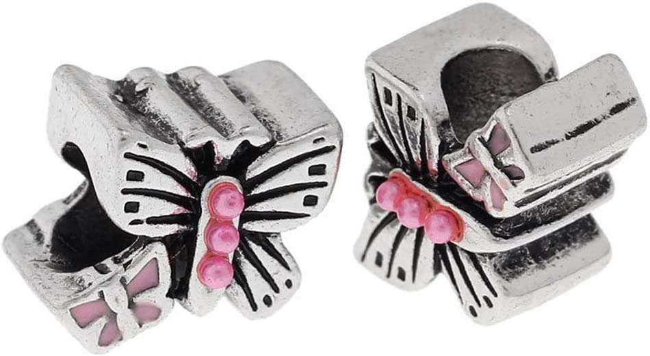 Pink Pearl Butterfly Enamel Bug Insect Garden Bead for European Charm Bracelet