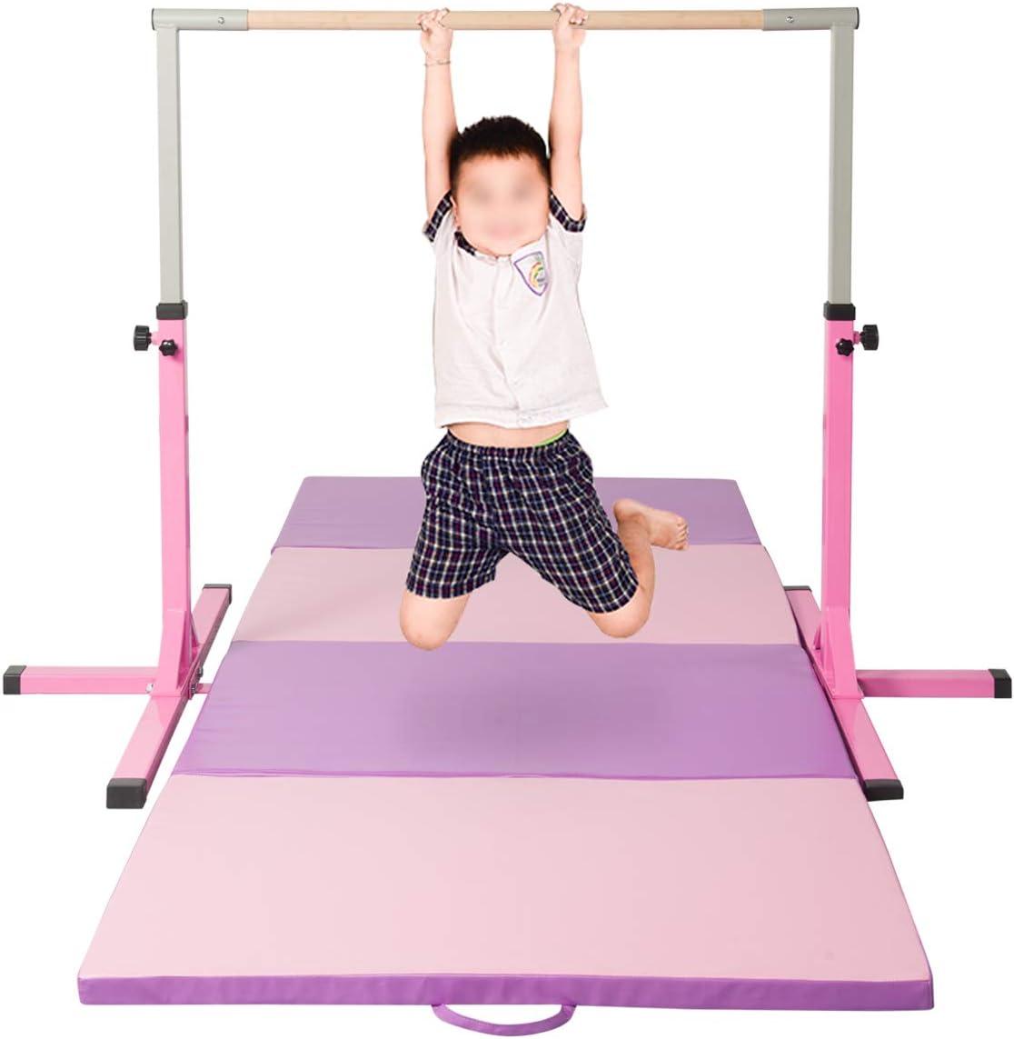 KOOLWOOM 厚手 折りたたみパネル 体操マット ジム フィットネス エクササイズマット ピンク Bar+Mat 4'x10'