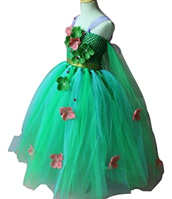 90c7f42e Green Flower Tutu Princess Frocks Dresses Children Girls Cosplay Princess  Elsa Dress Kids Christmas Halloween Costume