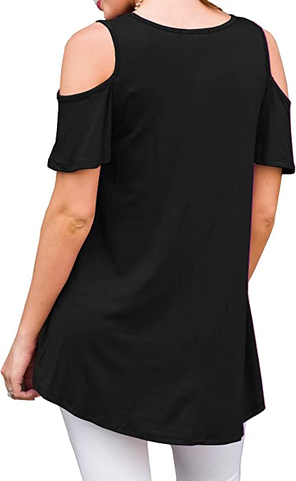 PrinStory Women Short Sleeve Casual Cold Shoulder Tunic Tops Loose Blouse Shirts