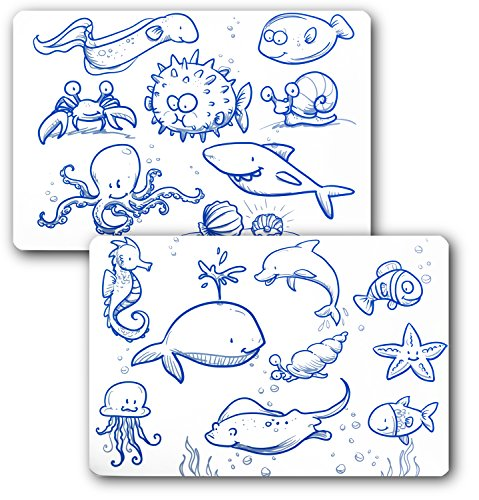 A+ Kids - Set of 2 Reusable and Washable Silicone Coloring Placemats with 6 Dry-Erase Markers; Easy to Clean and Comes in a Plastic Tube for Storage and on the go (Ocean Set) (Place Ocean)
