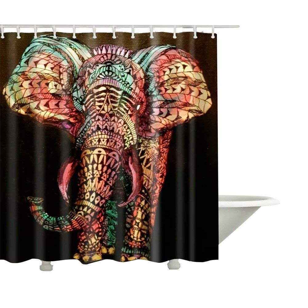 QEES Elephant Shower Curtain with Mildew Resistant Waterproof Polyester Fabric Free Hooks as Gift (YLB01-CX-L)