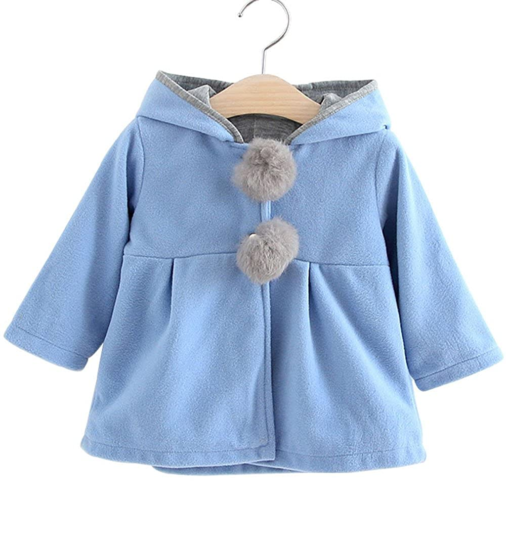 2017 Baby Girls Kids Winter Big Ears Hoodie Jackets Outerwear Woolen Coats 3T XXL/12)