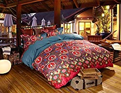 Joybuy Egyptian Cotton Duvet Cover Set 100% Long Staple Cotton Boho Bedding Bohemian Bedding Exotic Bedding Queen