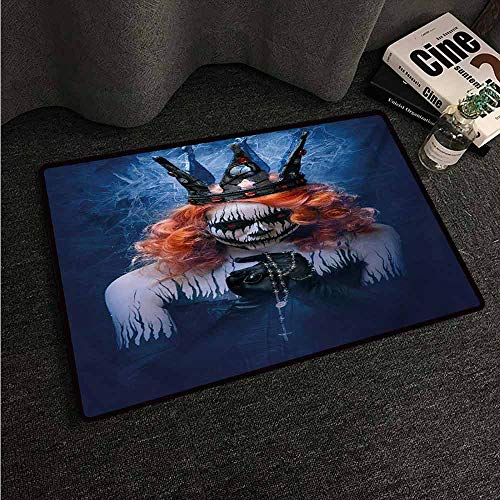(HCCJLCKS Front Door Mat Large Outdoor Indoor Queen Queen of Death Scary Body Art Halloween Evil Face Bizarre Make Up Zombie Easy to Clean Carpet W16 xL24 Navy Blue Orange)