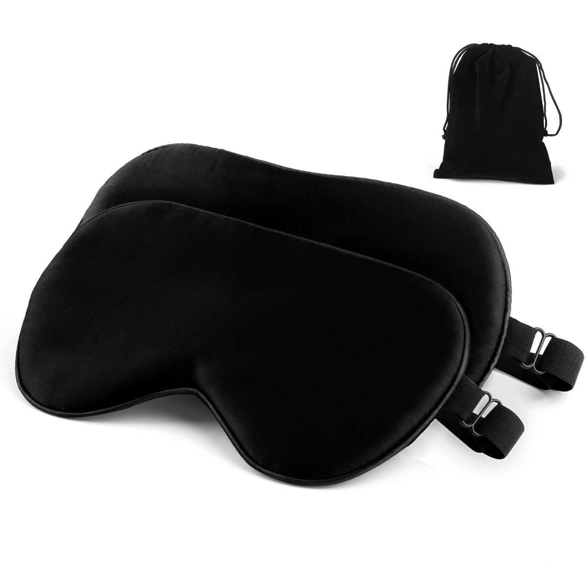 Silk Sleeping Blindfold Mask with Adjustable Strap Comfortable&Soft Eye Mask Washable,2 Pack(Black)