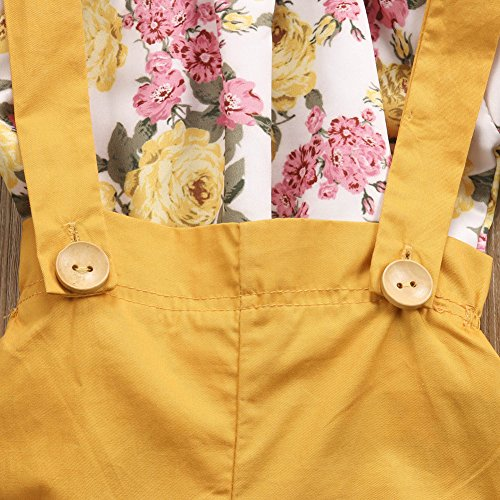 GRNSHTS Baby Girls Floral Suspenders Pant Set Long Sleeve Romper + Short Overalls (80 / 6-12 Months, Yellow)