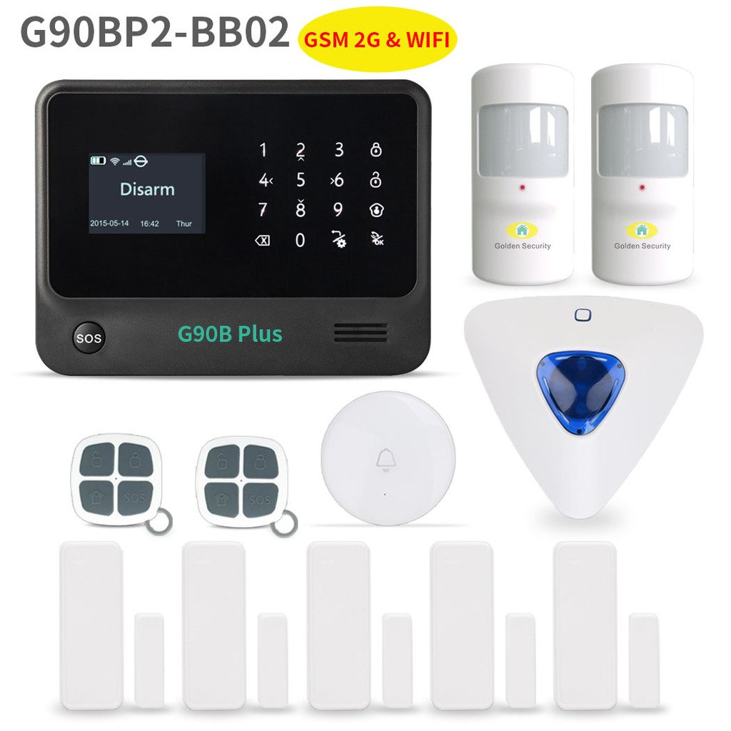Home Security System,Golden Security touch screen keypad LCD display Wireless WIFI & GSM(2G) 2-in-1 with Auto Dial,Motion Detectors and more DIY Home Alarm System G90BP2-BB02
