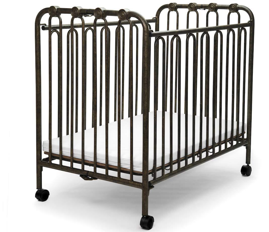The Kingston Mini Wrought Iron Folding Crib – Vintage Gold