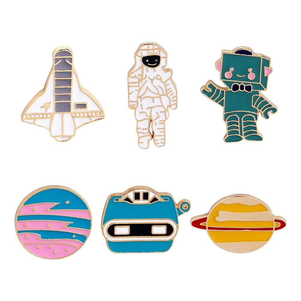 AUTOECHO 6pcs Broche Innovante F/ée Mignon /Émail Revers Broche Set Cartoon Broche Animal Avion Astronaute Robot Plan/ète Pins Kawaii pour Femmes Filles Adolescents
