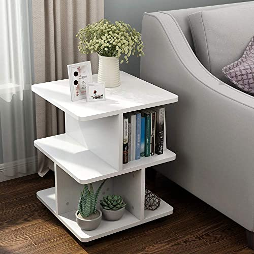 Tribesigns Modern Side End Table for Living Room, 3 Tier Bedside Table Night Stand with Wheels and Storage Shelf for Bed Room White