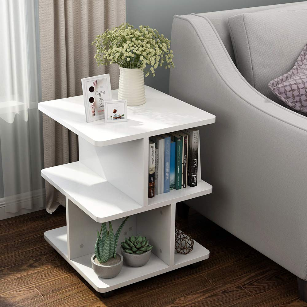 Tribesigns Modern Side End Table for Living Room, 3 Tier Bedside Table Night Stand with Wheels and Storage Shelf for Bed Room (White) by Tribesigns