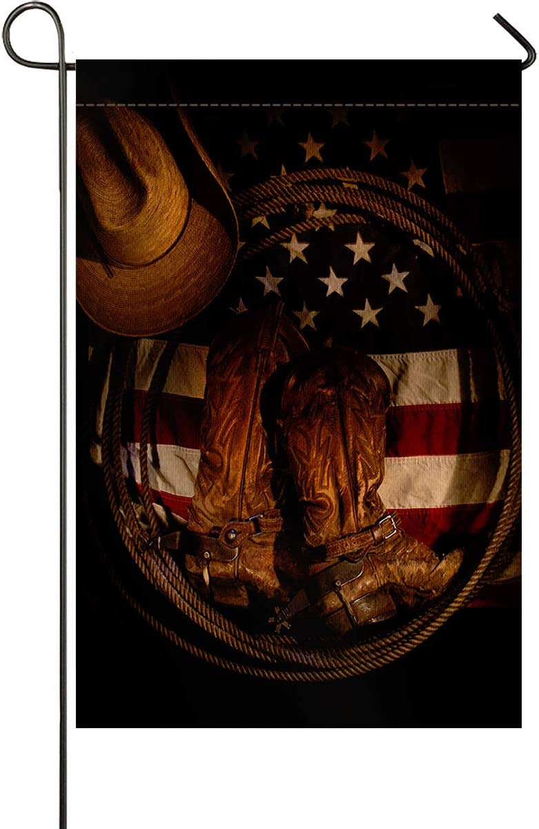 Vertical Double Sided USA Western Decorative Garden Flags, Cowboy Hat with Boots Rope on American Flag Printed BURLAP Yard Outdoor Decor - Weather Resistant & Double Stitched - 28 x 40 Inch