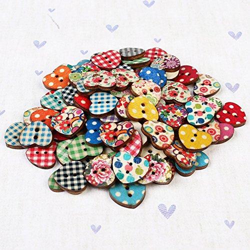 100 Pieces Heart Shape Decorative 2 Holes Buttons Wooden Buttons Embellishments for DIY Sewing Crafts Scrapbooking for for DIY Sewing, Embelishments, Crafts -  mcgrady1xm, xm1