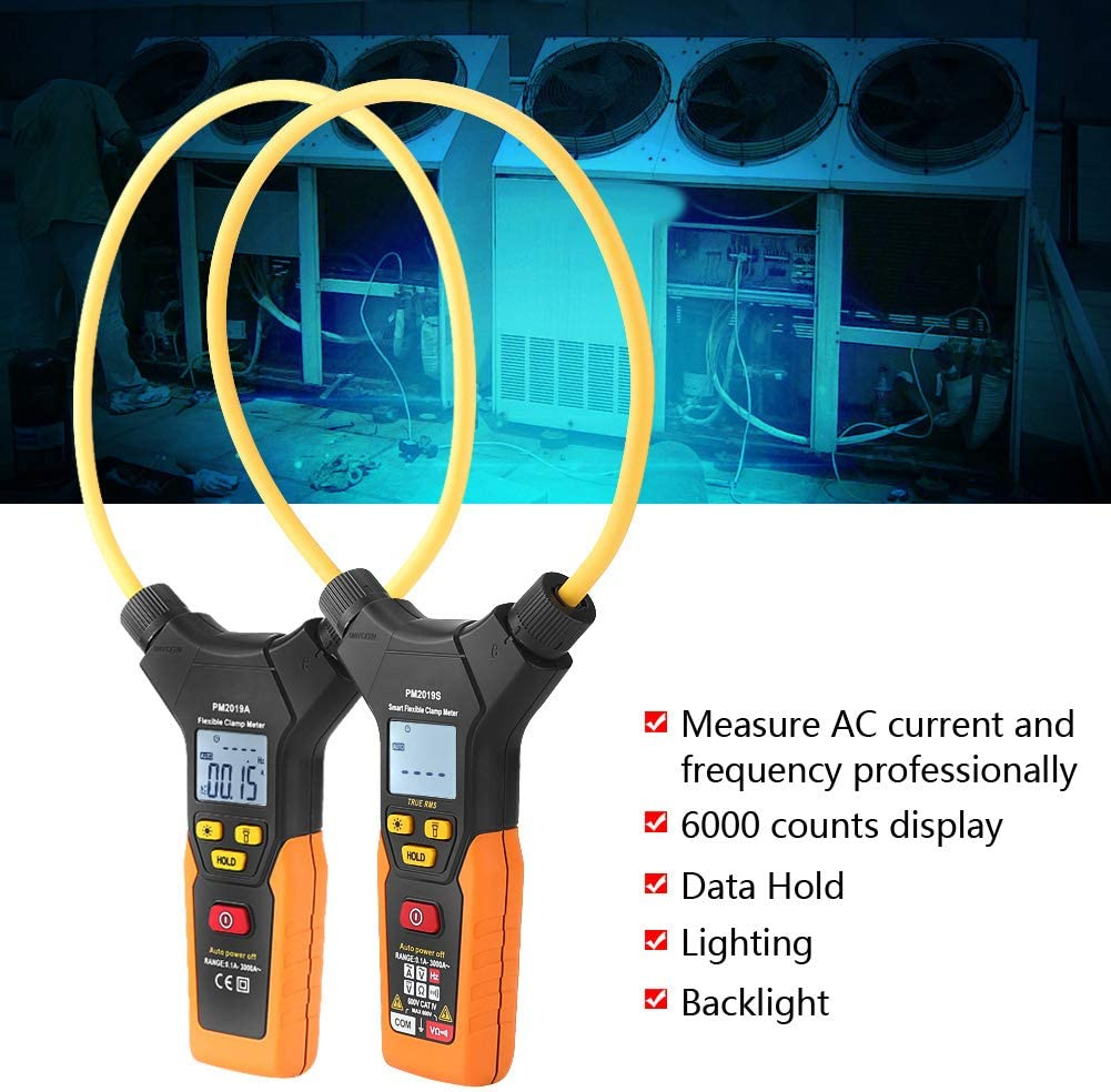 PM2019A Mult/ímetro digital de pinza amperim/étrica 2019A//PM2019S Medidor digital de pinza flexible de mano Mult/ímetro de corriente alterna de 3000A
