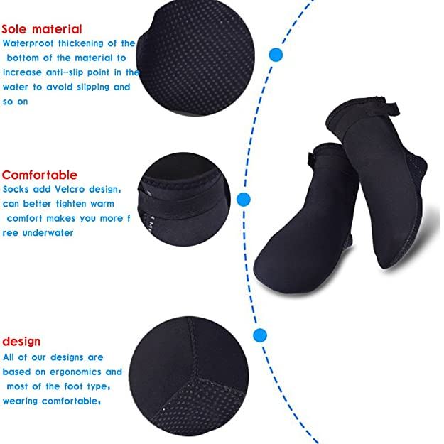 ed143f20e563 ... Quick Dry Aqua Water Shoes Socks for Pool Yoga Beach Swimming Bevel  Black US 7.5-8.5 Women