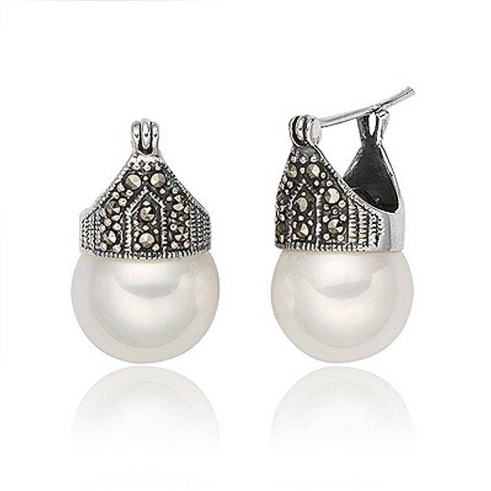 Luna Azure Vintage Style Sterling Silver Shell Pearls Marcasite Women Earrings Girls Festival Gift Present