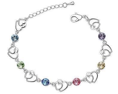 NINABOX® Cristal SWAROVSKI ELEMENTS Série Rainbow Bracelet chaine fille femme Coeur unis Bijoux fantaisie plaque