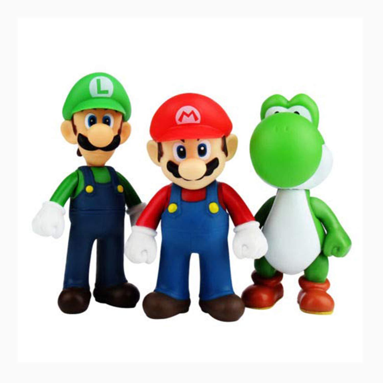 Set Of 3 Pcs Super Mario Bros Luigi Mario Yoshi Action Figures Toy 4 7