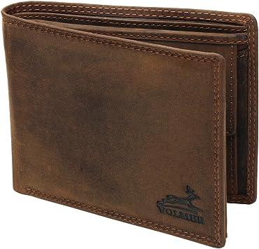 Fa.Volmer® Billetera de Cuero para Hombre marrón/Negro con protección RFID Billetera de Cuero Real Billetera usada Look # VO19 (marrón): Amazon.es: Equipaje