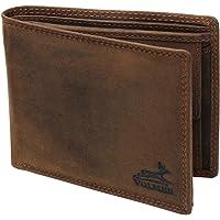 Fa.Volmer® Herrplånbok i läder brun/svart med RFID-skydd äkta läder plånbok begagnad look # VO19