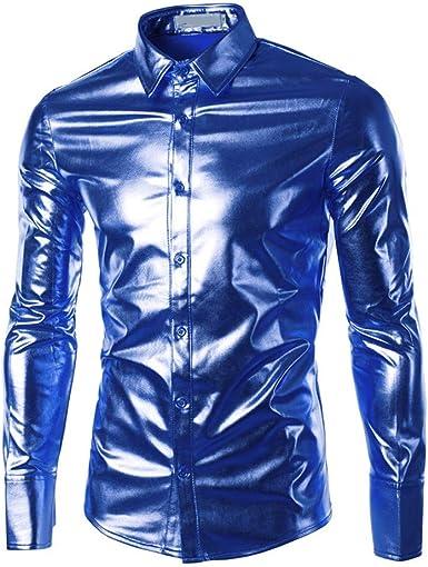 Glaiidy Camisa De Hombre Metálico Festiva Brillante Moda ...